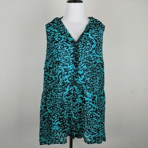 Torrid Blue Leopard Sheer Button Down Blouse